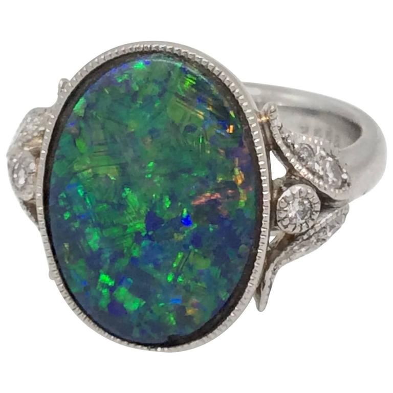 black opal platinum ring at 1stdibs