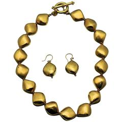 Gold Artisan Baroque Shape Bead Necklace and Earrings