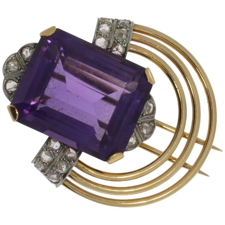 Amethyst Diamond Gold Platinum Pin 1