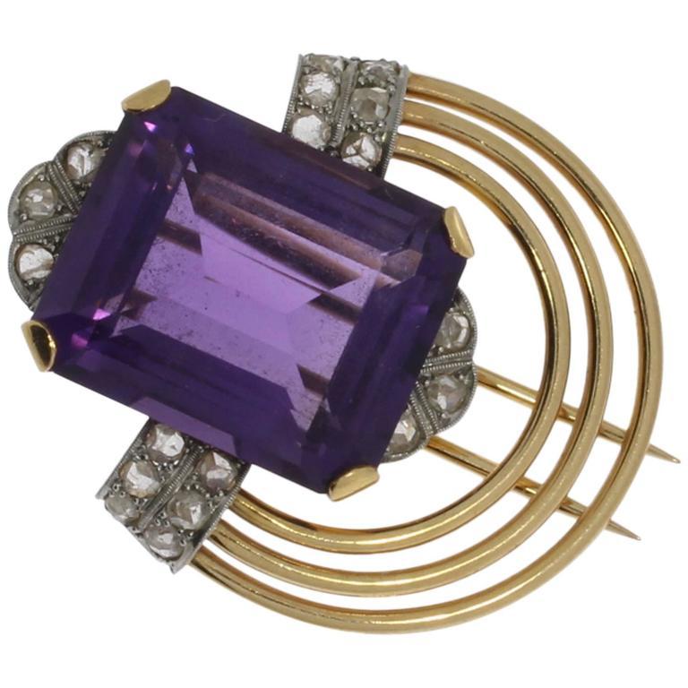 Amethyst Diamond Gold Platinum Pin For Sale