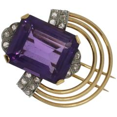 Amethyst Diamond Gold Platinum Pin