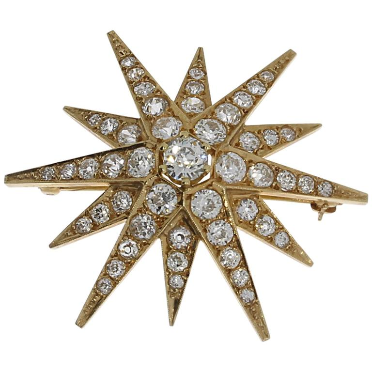 Diamond Gold Twelve-Rayed Star Brooch Pendant