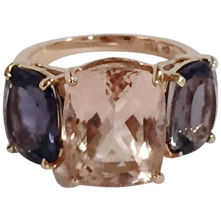 Morganite Iolite Gold Three Stone Cushion Ring