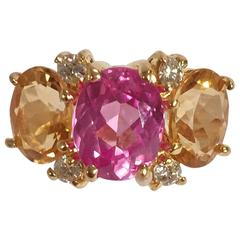 Mini GUM DROP™ Ring with Pink Topaz and Citrine and Diamonds
