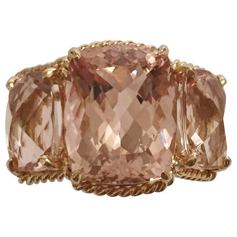 Elegant Three Stone Ring with Gold Rope Twist Border
