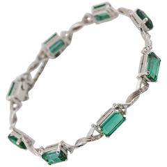 Emerald Cut Green Tourmaline Diamond Platinum Link Bracelet