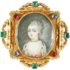 19th Century Napoleon III Mother of Pearl Gilded Brass Brooch with Miniature