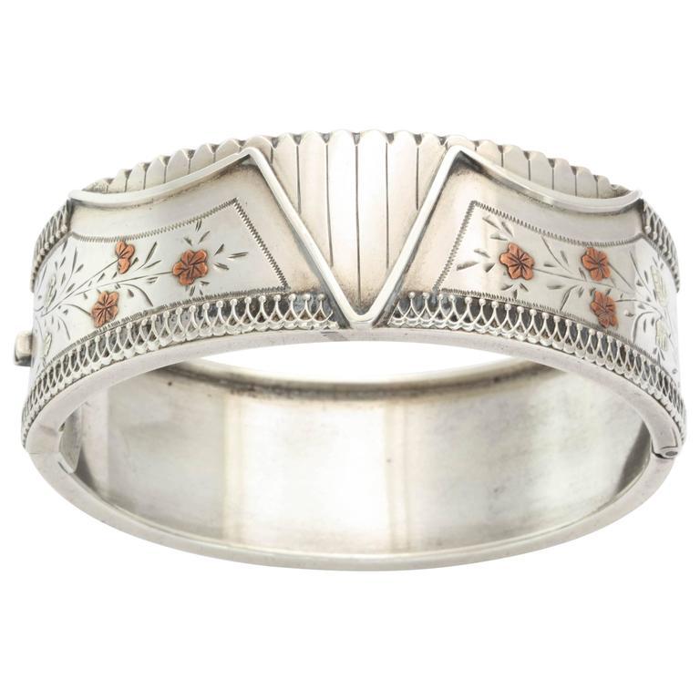 Antique Victorian Sterling Silver Corset Bracelet  c. 1870