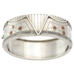 victorian Sterling Silver Cuff in Floral and Corset Design