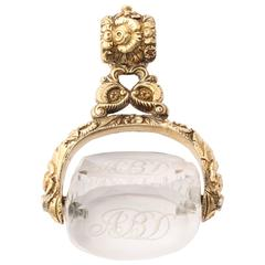 15 kt Regency Swivel Fob of Rock Crystal and Gold