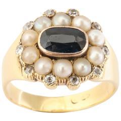Rich Sapphire Natural Pearl Diamond Ring, circa 1844