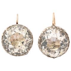 Silver Set Georgian Paste Drop Earrings