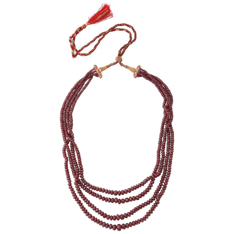 4 Strand Faceted Ruby Bead Necklace with Original Stringing