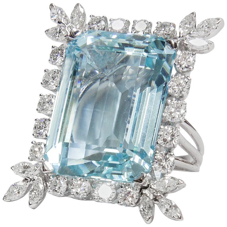 47 Carat Natural Aquamarine Diamond Platinum Ring
