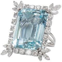47 Carat Natural Aquamarine Diamond Platinum Ring Estate Fine Jewelry