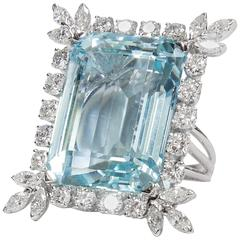 47 Carat Natural Aquamarine Diamond Platinum Statement Ring Estate Fine Jewelry