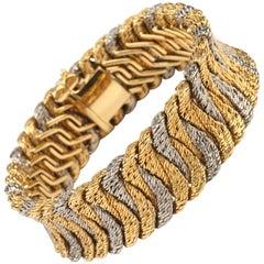 1960s Georges Lenfant Paris Two Color Braided Gold Bracelet