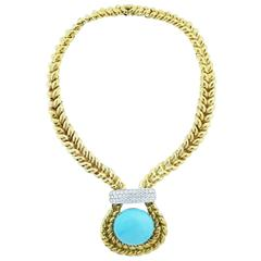 Valentine Magro Exciting Turquoise Diamond Gold Necklace