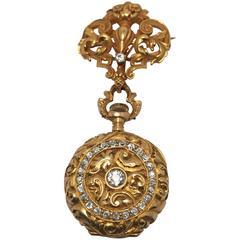 Art Nouveau Diamond Gold Demi Hunter Lapel Watch