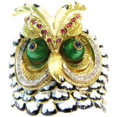 Spectacular Large Owl Pin Gold Enamel Sapphire Ruby Diamond Gold