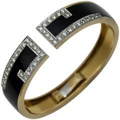 Diamond Gold Onyx Split Front Bracelet