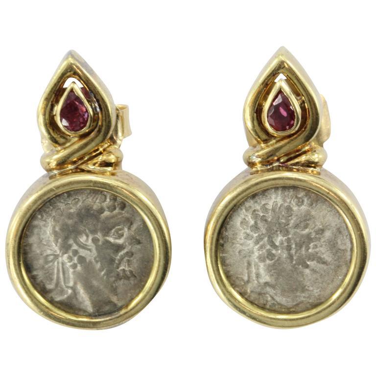 Ruby Gold Roman Silver Denarius Coin Earrings At 1stdibs