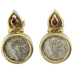 Ruby Gold Roman Silver Denarius Coin Earrings