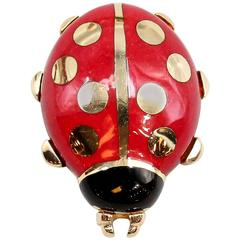 Cartier Enamel Gold Ladybug Pin