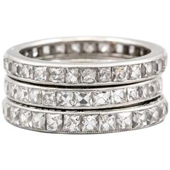 Art Deco Trio of French Cut Diamond Platinum Bands