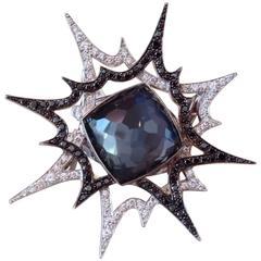"Stephen Webster ""Murder She Wrote Bang Bang"" Hematite Quartz Diamond Gold Ring"
