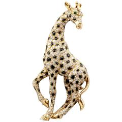 Cartier Onyx Emerald Diamond Gold Giraffe Brooch