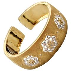 M. Buccellati Diamond Gold Wide Cuff Bracelet
