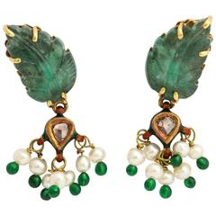 Stunning Carved Emerald Enamel Pearl Diamond Gold Clip Earrings