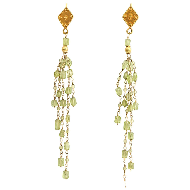 Bead Chandelier Earrings Tanzanite Sapphire Gold Beaded