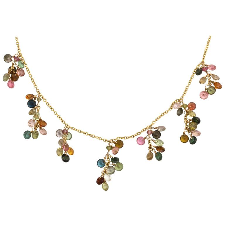 Chic Multicolored Tourmaline Gold Necklace