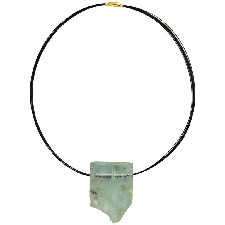 Aquamarine Crystal Slice Necklace