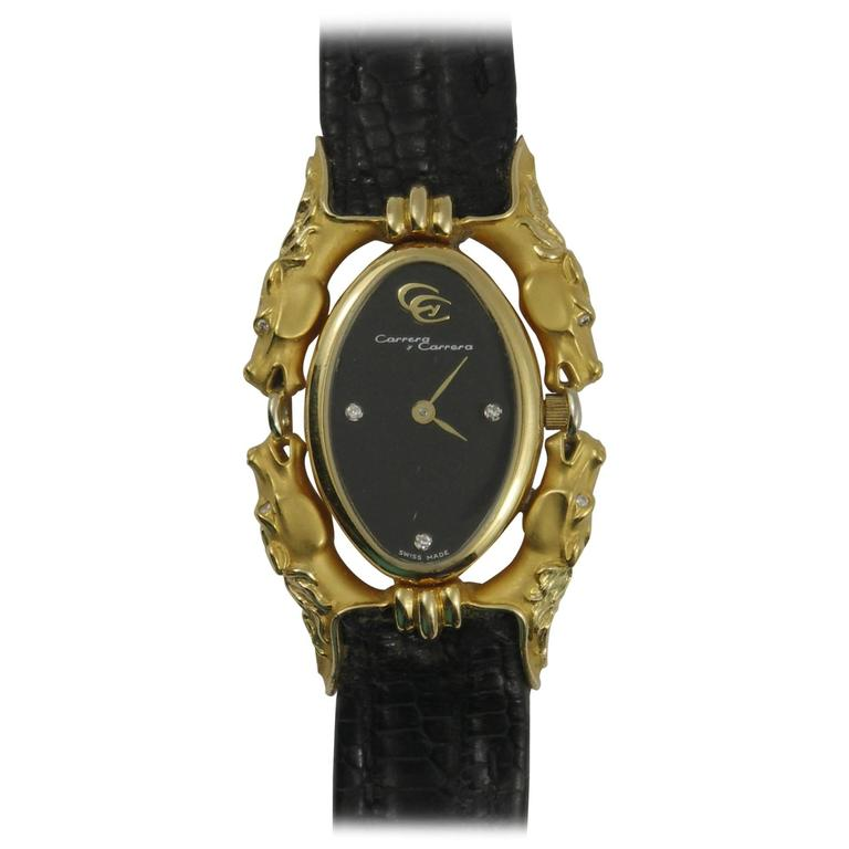 Carrera y Carrera Ladies Yellow Gold Diamond Equus Watch/Wristwatch