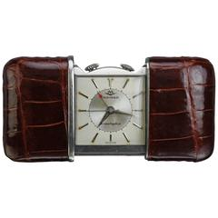 Movado Stainless Steel Crocodile Ermetophon Travel Alarm Clock