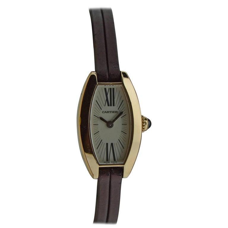Cartier Ladies Yellow Gold Quartz Watch For Sale