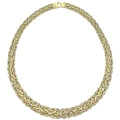 Byzantine Tapered Gold Link Necklace Made in Italy