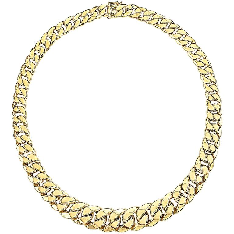 Gold Tapered Curb Link Necklace 1