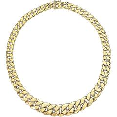 Gold Tapered Curb Link Necklace