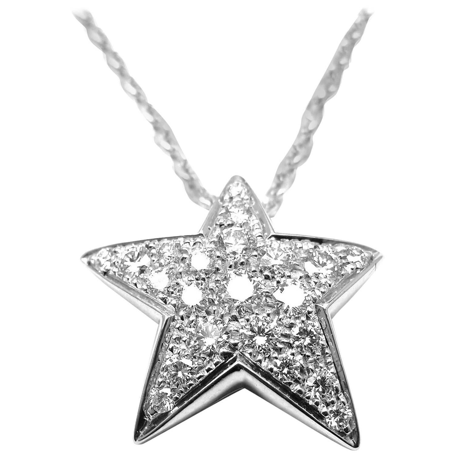 Chanel ete Diamond Gold Star Pendant Necklace at 1stdibs