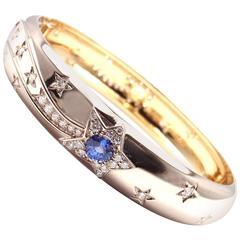 Chanel Comet Sapphire Diamond Two Color Gold Bangle Bracelet