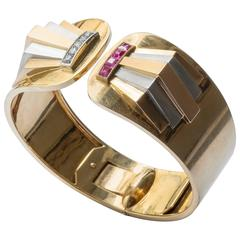 French Machine Age Retro Diamond Ruby Two Color Gold Platinum Bangle