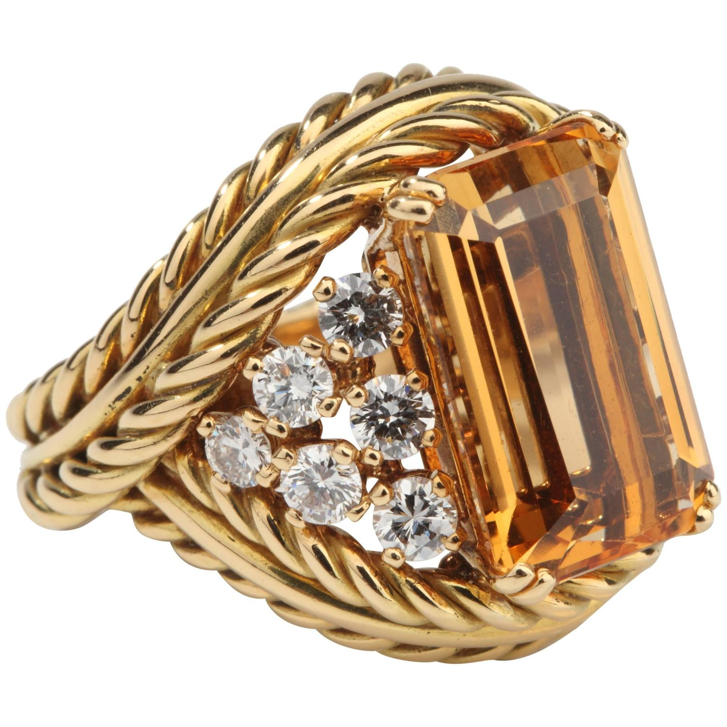 1950s Chaumet Paris Topaz Diamond Gold Ring At 1stdibs