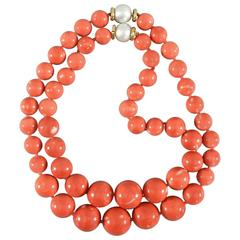 Trianon Set of Two Coral Bead Necklaces with Pearl Gold Clasps