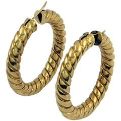 Large Twisted Rope Design Gold Earrings