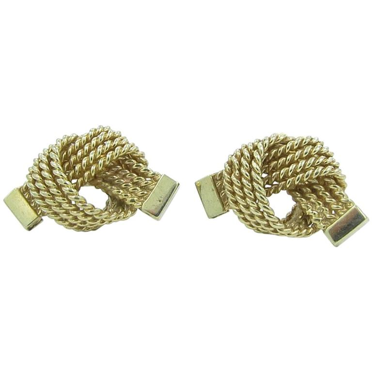 Tiffany & Co. Gold Love Knot Rope Earrings 1