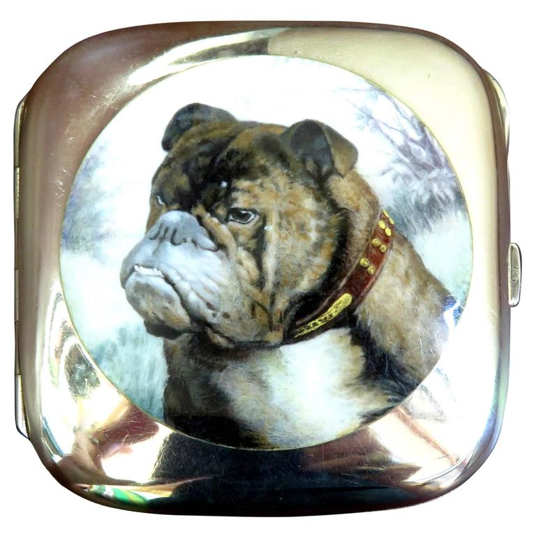 English Bulldog Enameled Silver Case For Sale